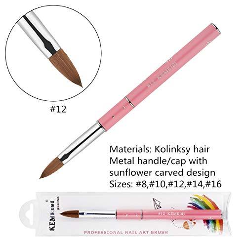- KEMEISI Kolinksy Nail Brush Sunflower Pink Handle Sable Acrylic Brush Factory Direct Crimped Size 8,10,12,14,16 (#12)