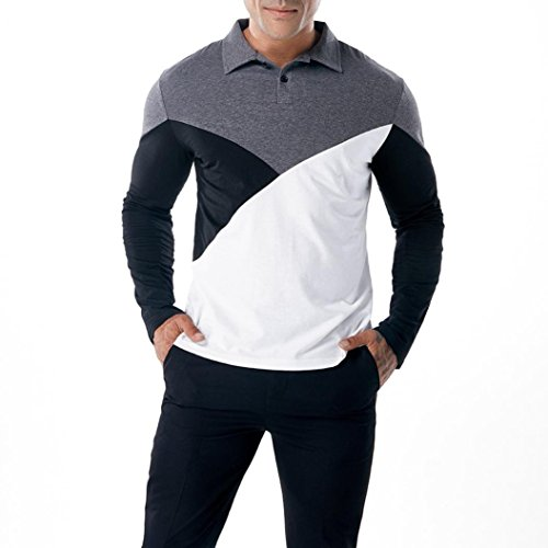 - NREALY Men's Blouse Fashion Casual Slim Long Sleeve T Shirt Muscle Top Polo Shirt(M, Gray)