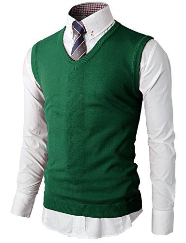 H2H Men's Solid Textured Argyle Sweater Vest, Ash Heather Green US 2XL/Asia 3XL (KMOV050)