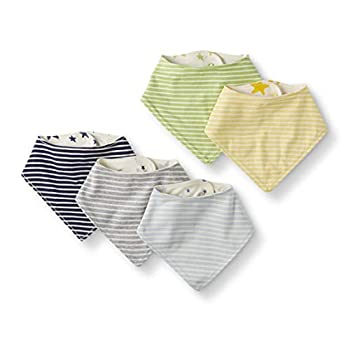 Moon and Again by Hanna Andersson Unisex Child 5-Pack Natural Cotton Reversible Bib