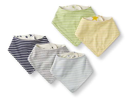 Moon and Back by Hanna Andersson Baby 5-Pack Organic Cotton Reversible Bib, Blue, One Size ()