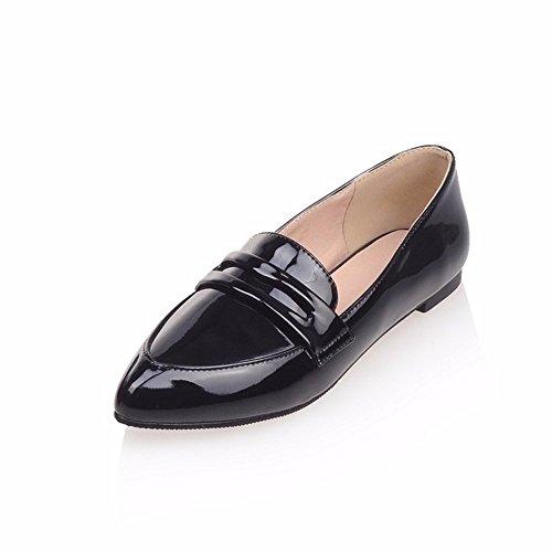 plano laca grandes suela tallas Zapatos de estudiante plana zapatos de fondo de de black zapatos suela de 0ffASv