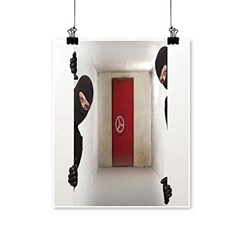 Single Painting Ninja Safe Robber Hiding Behind a Empty White Sign with Space for Text Office Decorations,32