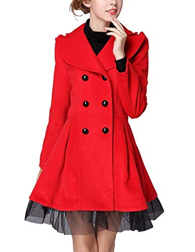 Longues Jacke Manteau Red Costume Manches Longues Double Patchwork 1 Femme Manteaux Coupe Revers Fit Boutonnage Trench Unicolore Slim Hiver I4xq0B