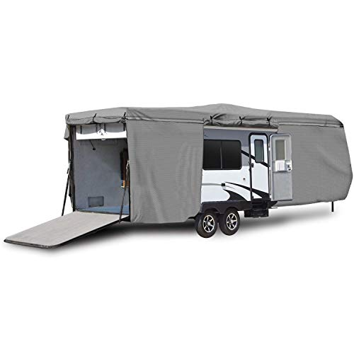 Waterproof Superior RV Motorhome Travel Trailer/Toy Hauler Cover Fits Length 38'-40' Travel Trailer Camper Zippered Panels Allow Access To The Door, Engine, Side Storage Areas, and Ramp Door (Toy Rv Hauler Covers)