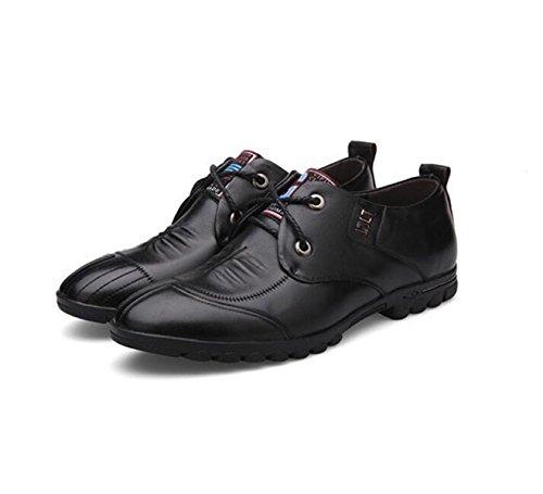 GRRONG Zapatos De Cuero De Los Hombres De Cuero Genuino Del Ocio Del Negocio Negro Marrón Black
