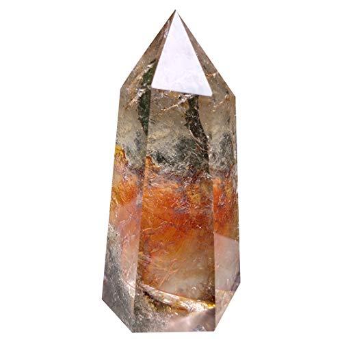 Jdflying Natural Phantom Quartz Point Ghost Crystal Wand Reiki Healing Orgone Stones Garden Scenery Mineral Himalayan Lucky Stick Rock Cristal Cuarzo Gemstone