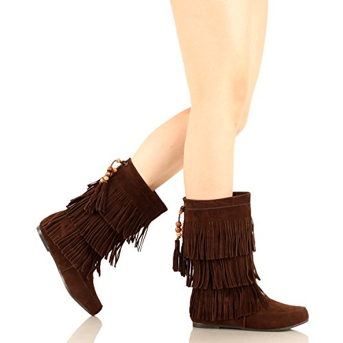 West Su Lima Fringe Brown Suede Moccasin Blvd Boots Womens 8n8q6rwgfZ