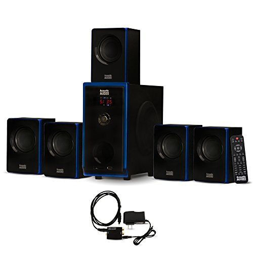 Acoustic Audio AA5102 Home Theater 5.1 Speaker System with O