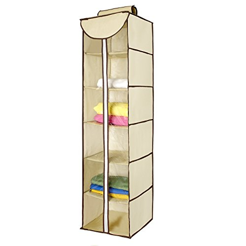 Ziz Home Hanging Clothes Storage Box (6 Shelving Units with Zipper) Durable Accessory Shelves - Eco- Friendly Closet Cubby, Sweater & Handbag Organizer - Keep Your Wardrobe Clean & Tidy. Easy Mount by Ziz Home