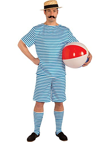 Alexanders Costumes Men's Bathing Suit Costume, Blue/White -