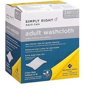 Simply Right Adult Washcloths - 240 ct .. (2 PACK)