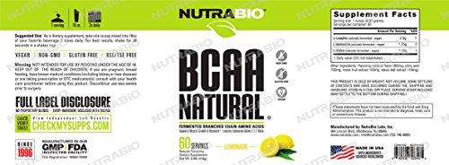 NutraBio BCAA Natural Powder – 60 Servings Lemonade
