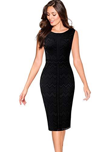 VFSHOW Womens Black Chevron Zig Zag Pattern Lace Cocktail Party Bodycon Sheath Dress 2079 BLK S