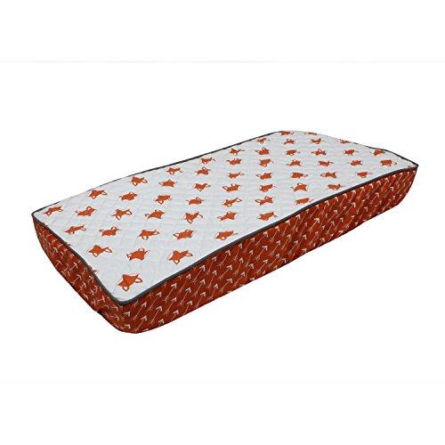 Orange Changing Pad Cover - Bacati Playful Foxs Changing Pad Cover, Orange/Grey/Triangles
