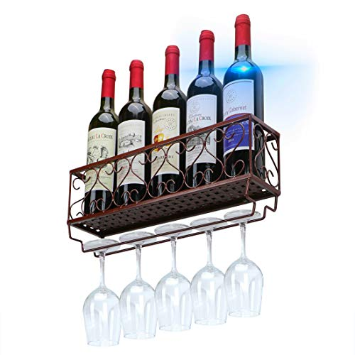 Couwilson Wine Rack Wall Mounted - Wine Bottle Holder Holds 5 Wine and Stemware Glasses, Kitchen Metal Wine Storage Decor and Accessories Brown
