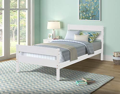 White Twin Bed Frame Wood Platform Captains Bed