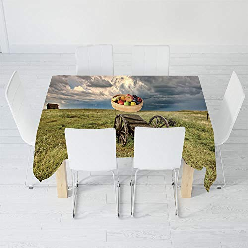 (TecBillion Polyester Tablecloth,Barn Wood Wagon Wheel,for Wedding Banquet Restaurant,90 X 60 Inch,Old Prairie Cart Agricultural Field Ranch Dramatic)