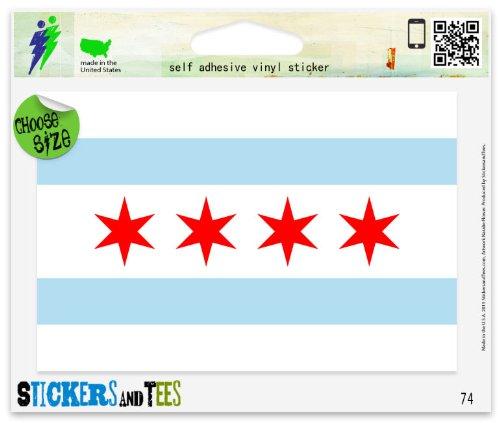 Chicago Sticker (Chicago Illinois Flag Vinyl Car Bumper Window Sticker 3