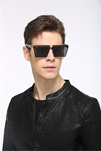 Oversized CVOO Flat Frame Square Sunglasses Metal Sunglasses Brown Top gq7dpwqFx
