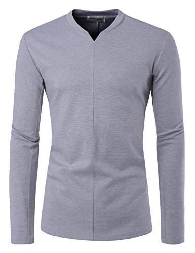 NEARKIN NKNKTL81 Men Long Sleeve Slit V Neck Front Line Point Trendy T Shirts Gray US XXL(Tag Size ()