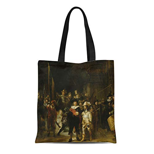 Semtomn Canvas Tote Bag Night Watch By Rembrandt Van Rijn 1642 Dutch Painting Durable Reusable Shopping Shoulder Grocery Bag ()