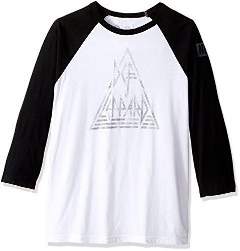 neff Men's Def Leppard Push Thru Raglan Tee Shirt, Black/...