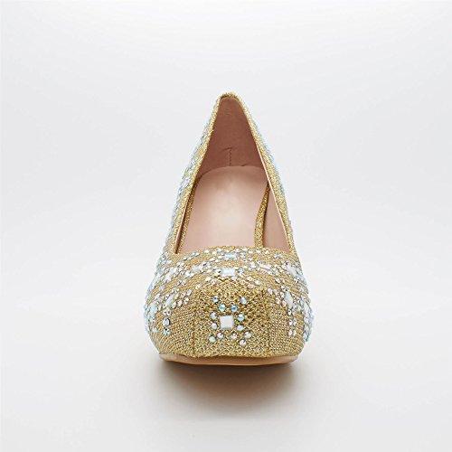 London Footwear Kalena, Women's Diamante Court Shoes Gold