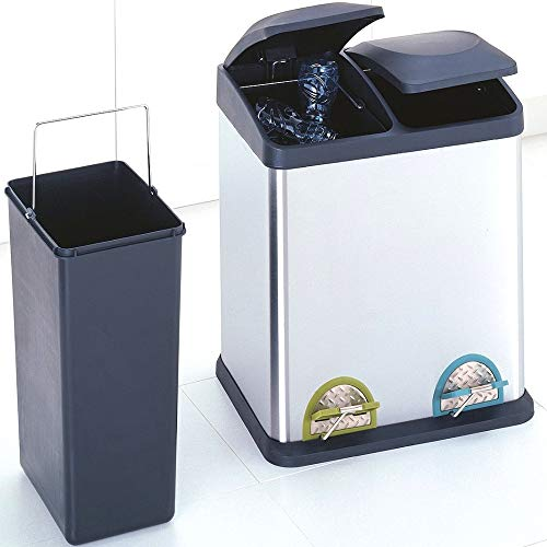 Garbage Can and Recycling Bin Combo 16 Gal Double Recycle Bin Stainless Steel with Foot Pedals Kitchen Step On with Plastic Lids Receptacle Waste Wastebasket Durable Under The Sink & eBook by NAKSHOP