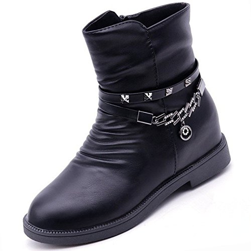 Comfort Fashion Black Toe Brown Mid Round HSXZ Shoes Boots Women's Calf Boots for PU Brown Casual Fall ZHZNVX Boots Winter Null pYqCw