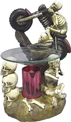 (New Skeleton on a Motorcycle with Skull Heads Fragrance Oil Burner Tart Warmer with Dimmer with 1 Scented Oil)
