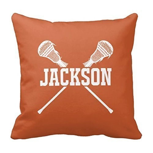 Mobile Earset (Lacrosse Throw Pillow Cover, Custom, Boys LAX Sticks Pillowcase, Any Name, Tan, Black, ANY Colors, 16x16)