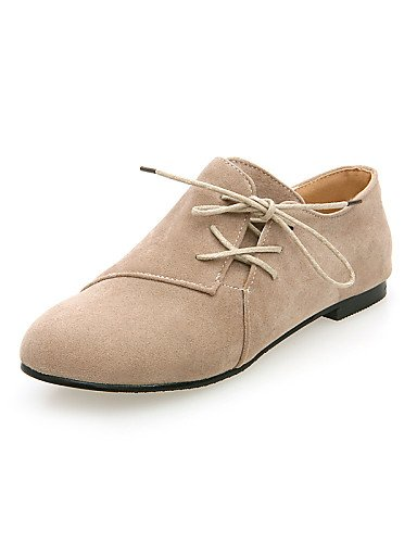 ZQ hug Scarpe Donna - Stringate - Casual - Punta arrotondata - Piatto - Finta pelle - Nero / Marrone / Beige , brown-us8 / eu39 / uk6 / cn39 , brown-us8 / eu39 / uk6 / cn39 beige-us5.5 / eu36 / uk3.5 / cn35