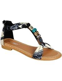 GIGI 92 Gladiator Tribal Decorated Flat Sandals Black