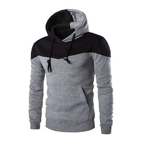 Clearance!Napoo Mens TOP Fashion Pocket Patchwork Slim Solid Hooded Sweatshirt Outwear (XXL, - Men Cheap Fashion