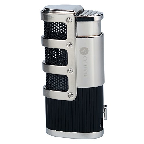Mantello Catador Triple Jet Flame Butane Cigarette Torch Lighter with Cigar Punch Cutter (Turn Counter Dial)