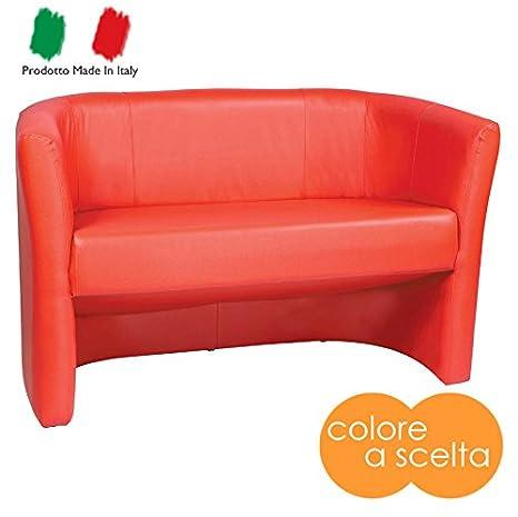 Divano divanetto due posti moderno in ecopelle rosso rossa modello ...