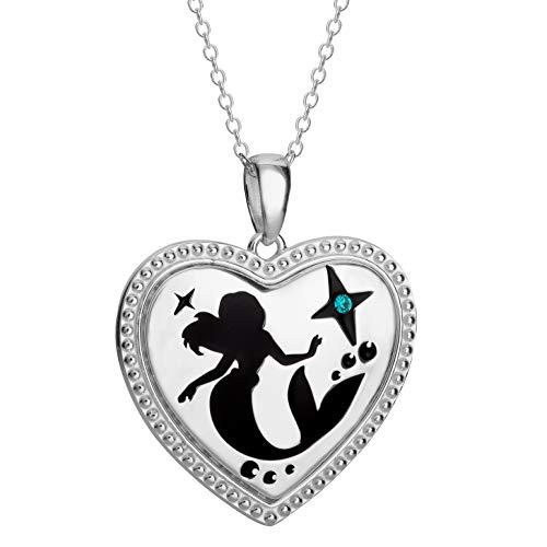 Disney, Ariel Little Mermaid Sterling Silver Heart Silhouette Crystal Pendant Necklace, -
