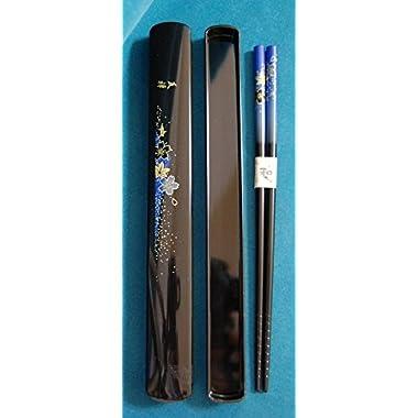 Happy Sales HSKS7/B Blue Floral Chopsticks in Case