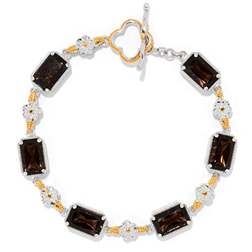 Smoky Quartz Toggle Bracelet - Michael Valitutti Palladium Silver Smoky Quartz Sculpted Flower Toggle Bracelet