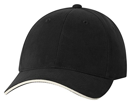 Sportsman Heavy Brushed Twill Sandwich Cap, Black/ Natural, One Size
