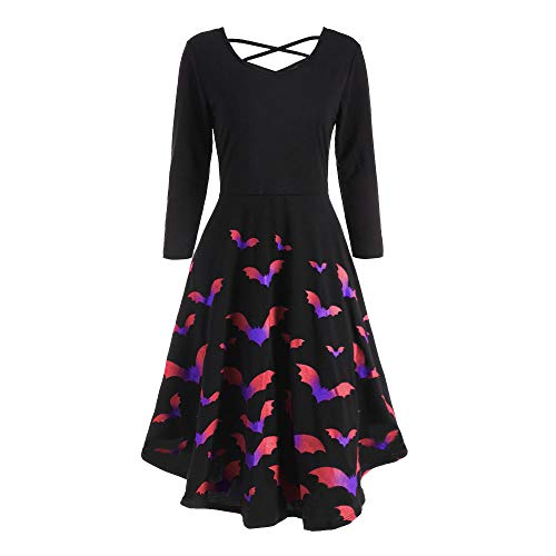 DEATU Ladies Dress Women Halloween Casual Elegance Long Sleeve Hollow Bat Print Flare Dress Party Casual Dresses(Multicolor,XL) ()