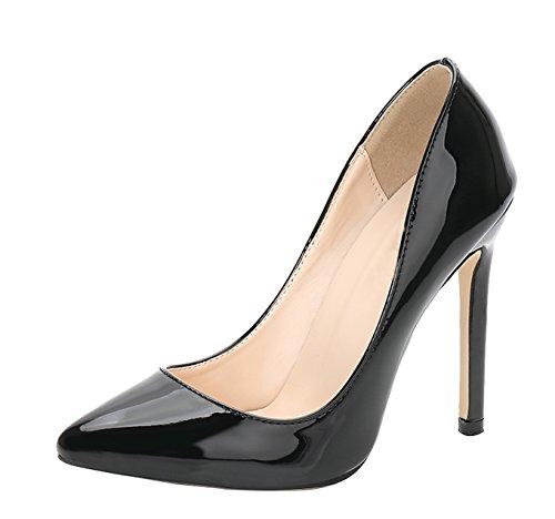 Black Patent Stiletto High Heel (CAMSSOO Women's Slip On Pointed Toe Stiletto High Heel Work Dress Party Pump Black Patent PU 6 US M)