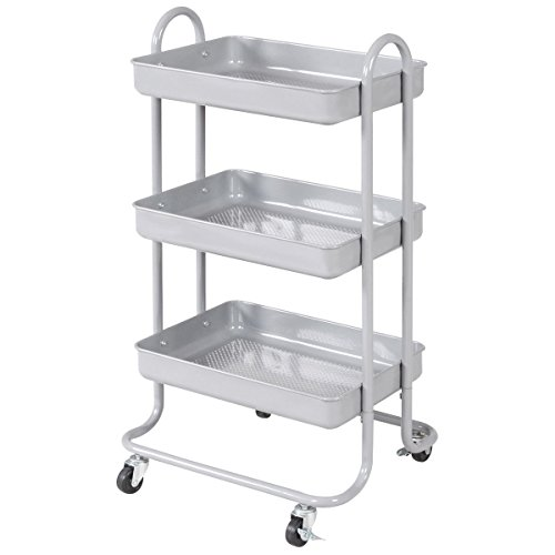 Giantex 3-Tier Rolling Kitchen Trolley Cart Portable Shelves Handle Storage Kitchen Steel Serving Island Utility (Grey)