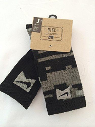 Nike 2 Pairs/Pack Kids High Crew Socks, Black/Grey, 3Y-5Y by Nike