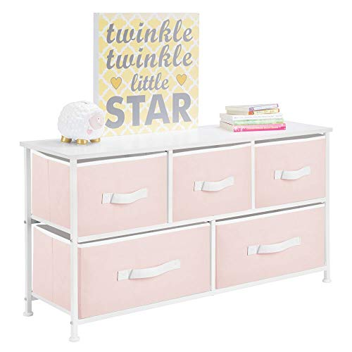 - mDesign Extra Wide Dresser Storage Tower - Sturdy Steel Frame, Wood Top, Easy Pull Fabric Bins - Organizer Unit for Child/Kids Bedroom or Nursery - 5 Drawers - Light Pink/White