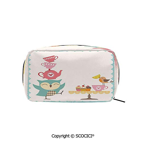 Rectangle Portable makeup organizer Cosmetic Bags Owl at Tea Party Bird with Lemon Cupcakes and Teacups Vintage Design Border Art Printed Storage Bags for Women Girls]()