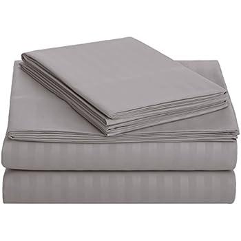 AmazonBasics Deluxe Striped Microfiber Bed Sheet Set - Queen, Dark Grey