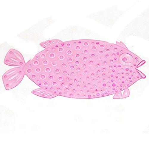 EchoAcc® Fisch-Bad Duschmatte mit Rutschfest Anti Skid Saug Sucker, Verbessern Sicher Rate (Rosa)