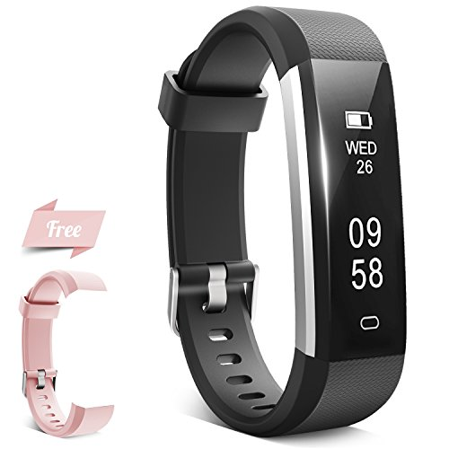 Fitness Tracker, HQBEi N5 Activity Tracker: Pedometer and Sleep Monitor, Bluetooth Fitness Wristband, Waterproof Activity Wristband with Free Replacement band with Buckle for Android & IOS (Pink)